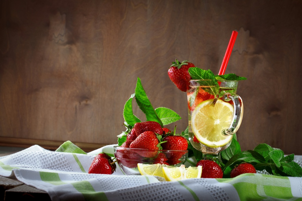 fruit infused water and fruit bowl