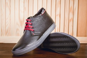 clean shoes made of natural leather with shoe cream and wax