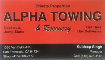 ALPHA TOWING & RECOVERY. TOW TRUCK SERVICE, $60 Flat Rate
