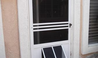 Custom Pet Doors installed into your Screen Door/Patio Slider