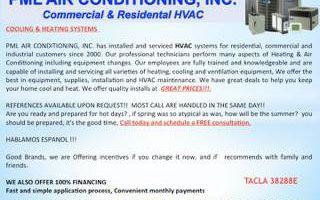 PML AIR CONDITIONING. HVAC REPAIRS AND SERVICE