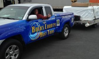 Chuck from Bucks County Hot Tubs. I MOVE HOT TUBS