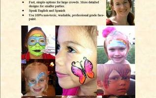 Face painter, Balloon Twisting, Glitter Tattoos, Crafts