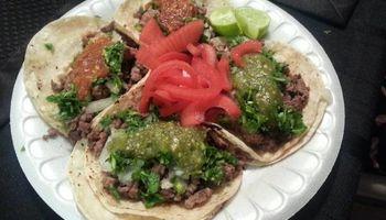 Tacos , hamburgers and hot dogs