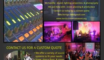 Vertigo Entertainment. Sound System and Event Lighting Rental - DJ speakers, led lighting