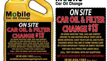 Mobile Car Oil and Filter Change $13
