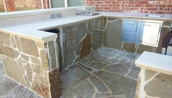 Cheap landscaping. Cement works for patios & pathways.