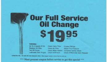 BS International Auto Body. Oil change special $ 19.95