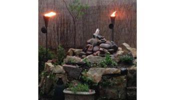 Custom Water Fountain & Raised Stone Flower Garden