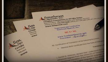 Southeast Spanish, Inc.. Certificate Translation for USCIS