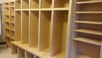 CJ's Custom Cabinetry LLC. Mudroom locker cabinetry