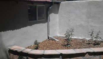 BLOCK WALLS, STUCCO, FLAGSTONE