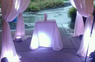 Draped Ceremony Decor with Lighting and Chandelier $399