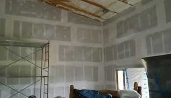 Hanging finishing and spraying drywall