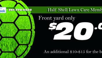 Front lawn overgrown? I'll cut it - $20. Half Shell Lawn Care
