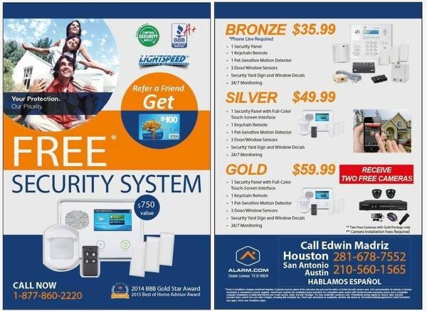 Free Home Security System W Cameras 210 998 6540 San