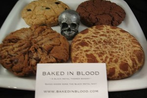 Photo #1: Baked In Blood Black Metal Cookies for your dark or kinky occasions!