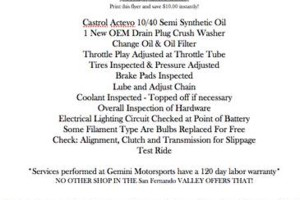 Photo #1: Gemini Motorsports motorcycle oil changes+ more cheap!