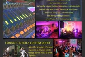 Photo #1: Vertigo Entertainment. Sound System and Event Lighting Rental - DJ speakers, led lighting
