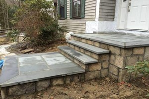 Photo #2: Custom Landscape And Construction, LLC. Unilock walls and patios