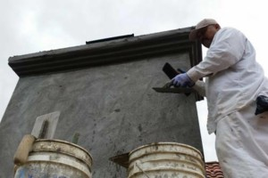 Photo #1: $250 stucco repair, redash, acoustic removal, paint