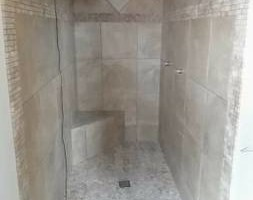 Photo #3: Custom tile and wood instalation - floor and walls