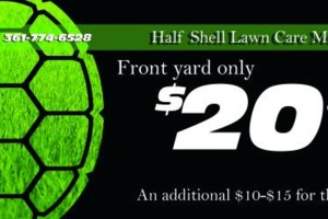 Photo #1: Front lawn overgrown? I'll cut it - $20. Half Shell Lawn Care