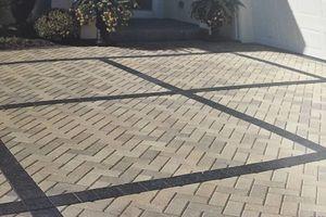 Photo #1: Paving stones. Roadway (pavement) restoration. Lining
