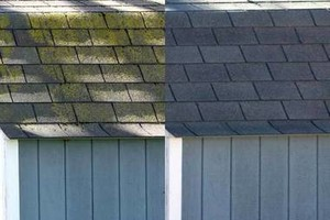 Photo #1: All clean specializing in roof cleaning/ remove ugly black streaks.