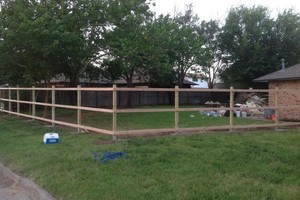 Photo #1: New fence as low as $8/ft post repair wooden $ 60 / $65 metal