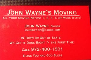 Photo #1: JOHN WAYNE'S MOVINNG - 1 to 100 ITEMS - LOCAL OR LONG DISTANCE -...