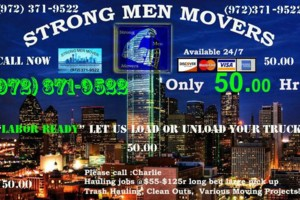 Photo #1: Strong Men Moving Hauling Company 50 .00 EACH HR.