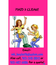 Logo Maid 2 Clean Cleaning Services