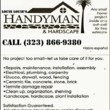 Economical Los Angeles HANDYMAN SERVICE open 24/7