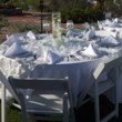 White wood style chairs and table rental